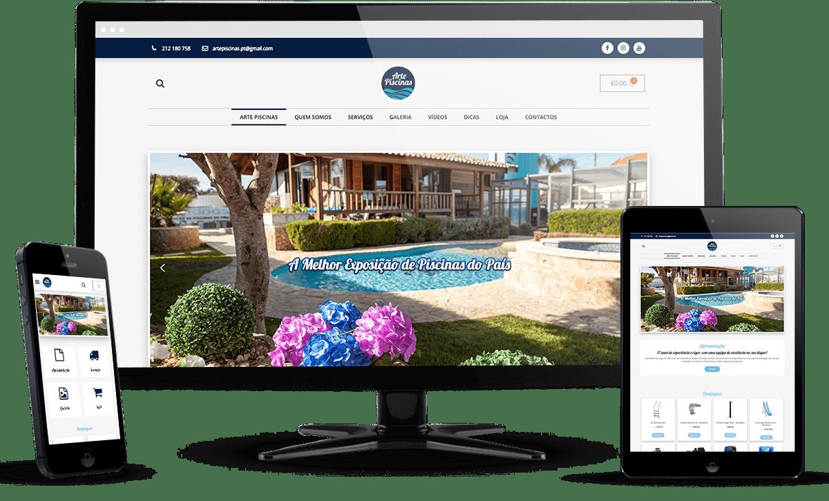 website ecommerce Arte Piscinas