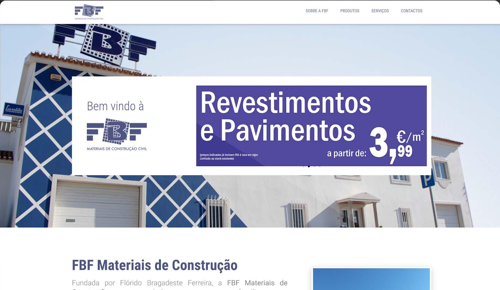 website FBF Materiais de Construção
